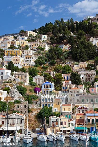 symi town, symi island, dodecanese islands, greece - symi stock photos and pictures