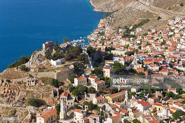 symi town, symi island, dodecanese islands, - peter adams stock pictures, royalty-free photos & images