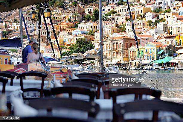symi view - symi stock photos and pictures