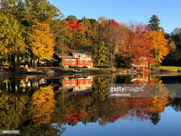 Symmetrical Autumn Reflections on Lake Bomoseen of Trees & House