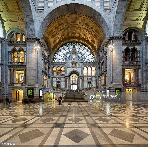 Symmetrical composition of the main hall of the famous Antwerp Railway train station, also known as the cathedral amongst stations on November 23,...