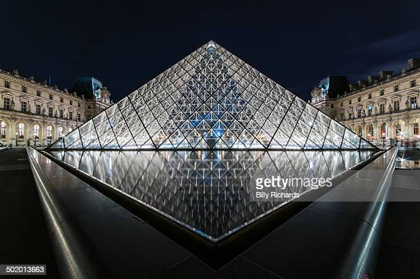Symmetrical photograph of the main glass pyrimid of the Louvre Museum in Paris, France taken at night. The glow from the glass pyramid is reflected...