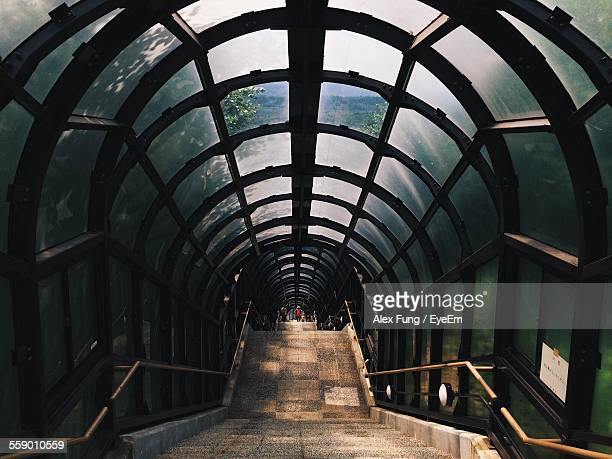 Symmetrical View Of Glass Tunnel And Stairs