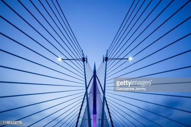 symmetry architectural details of modern bridge. seri wawasan bridge, putrajaya. - cavo d'acciaio foto e immagini stock