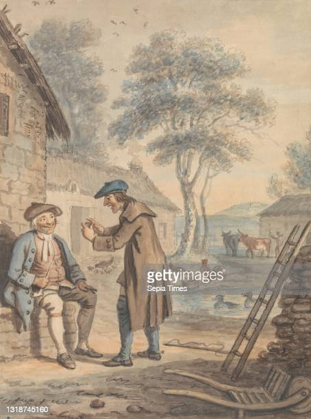 Symon Breaks the News to Glaud: Design number 3 for The Gentle Shepherd, David Allan, 1744–1796, British, born in Scotland Watercolor, pen and black...
