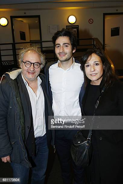 Symon Mill, his father Oury Milchtein and his mother Jocya Macias attend the Enrico Macias Show at L'Olympia on January 7, 2017 in Paris, France.