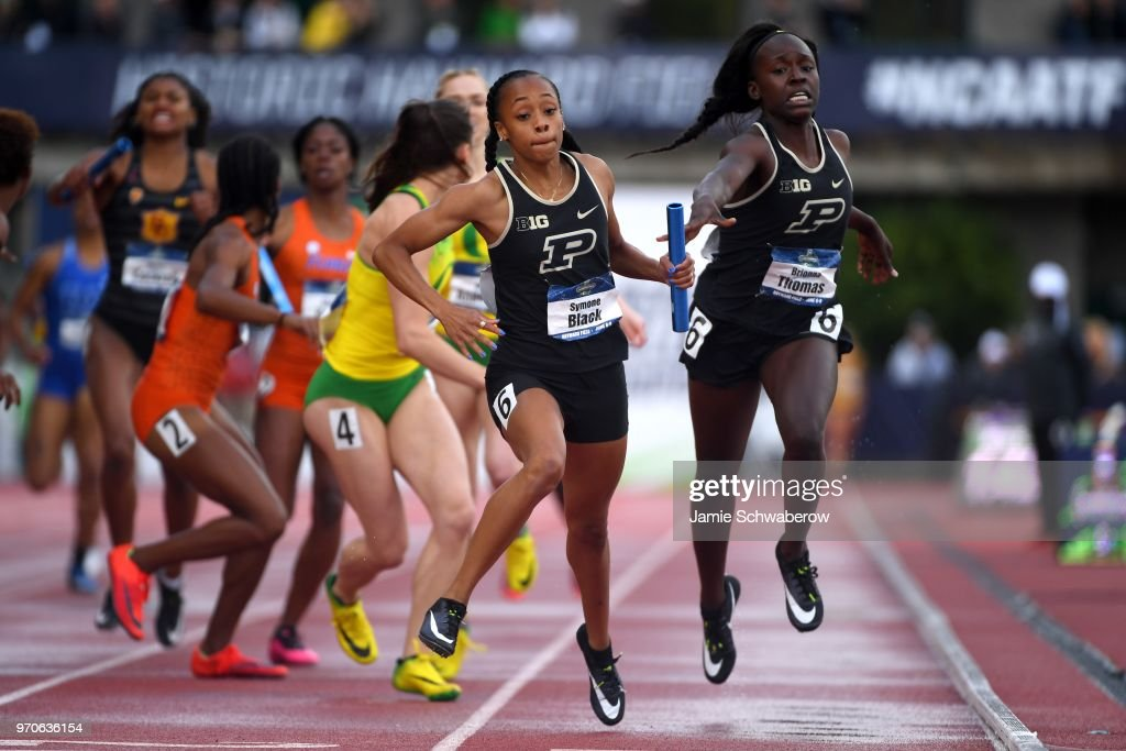 Symone Black of the Purdue Boilermakers competes in the 4x400 meter relay during the Division I Women's Outdoor Track & Field Championship held at Hayward Field on June 9, 2018 in Eugene, Oregon.