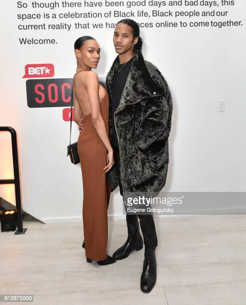 Symone Leone and Jordun Love attend the BET NETWORKS Hosting of the Opening Night Reception For 'THE MUSEUM OF MEME' In Celebration Of 'THE BET...