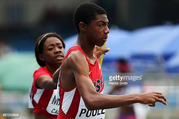 Symone Mason and Cory Poole of the USA in action during round one of the Mixed 4 x 400 Meters Relay on day four of the IAAF World Youth Championships...