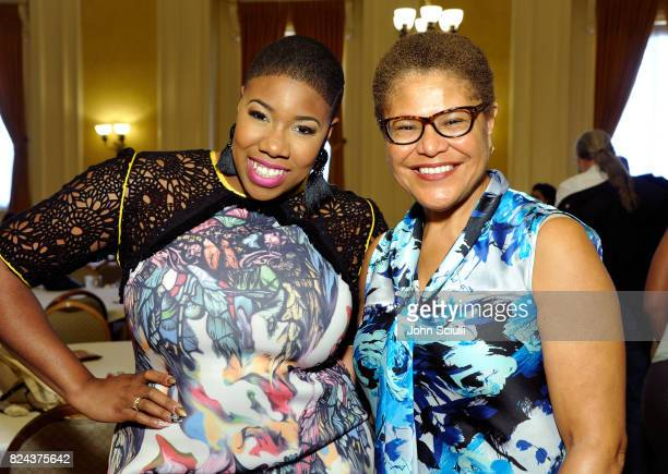 Symone Sanders and Karen Bass at Politicon at Pasadena Convention Center on July 29 2017 in Pasadena California
