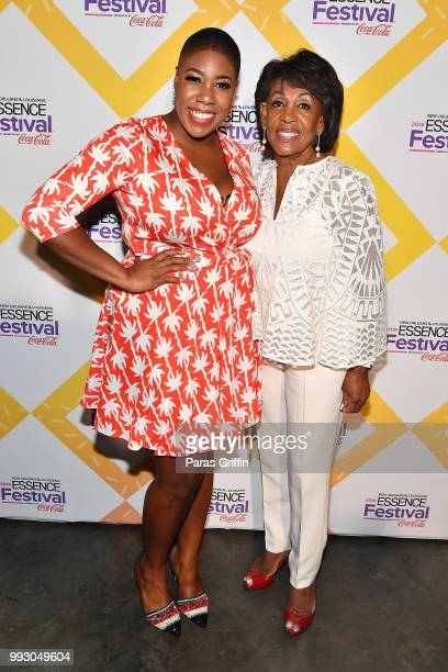 Symone Sanders and Maxine Waters attend the 2018 Essence Festival presented by CocaCola at Ernest N Morial Convention Center on July 6 2018 in New...