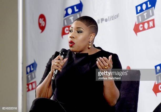 Symone Sanders at the 'Tomi Lahren vs Symone Sanders' panel during Politicon at Pasadena Convention Center on July 30 2017 in Pasadena California