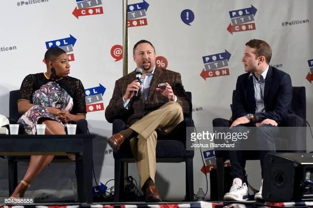 Symone Sanders Jason Miller and Jon Lovett at 'Trump vs the Media' panel during Politicon at Pasadena Convention Center on July 29 2017 in Pasadena...