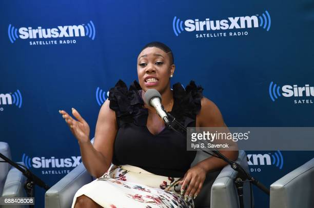 Symone Sanders speaks during SiriusXM Presents The Black Female Vote PostHillary Hosted By Karen Hunter at SiriusXM Studios on May 25 2017 in New...