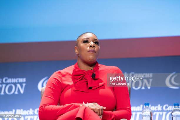 Symone Sanders speaks onstage at the National Town Hall on the second day of the 48th Annual Congressional Black Caucus Foundation on September 13...
