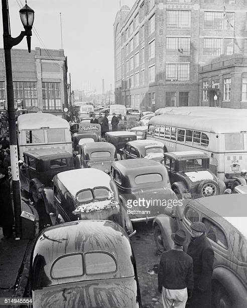 Sympathy Strikes Ties Up Traffic Windsor Ontario Canada Hundreds of cars and busses line the streets in front of the Ford Motor Company of Canada as...