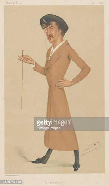"""Symphony, 1878. Caricature of American painter James Abbott McNeill Whistler , published in """"Vanity Fair"""" 12 January 1878. Artist Sir Leslie Matthew..."""