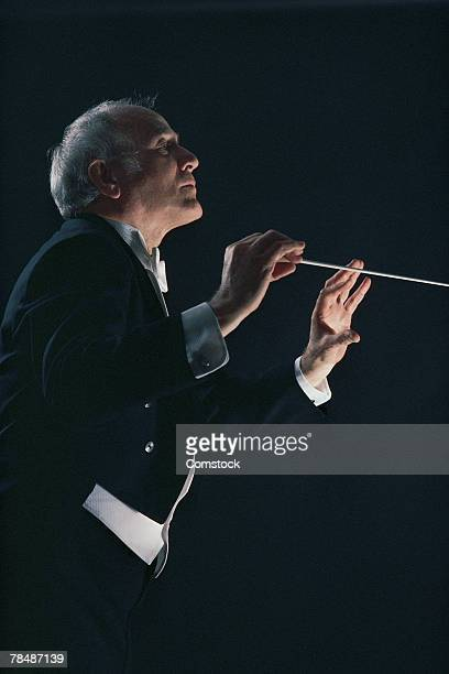 Symphony conductor in action