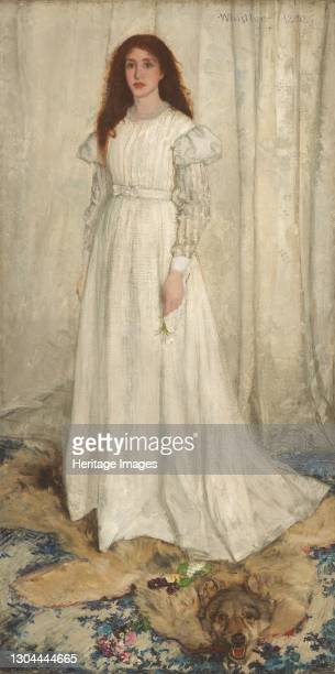 Symphony in White, No. 1: The White Girl, 1862. The model is Joanna Hiffernan, the artist's mistress. Artist James Abbott McNeill Whistler.