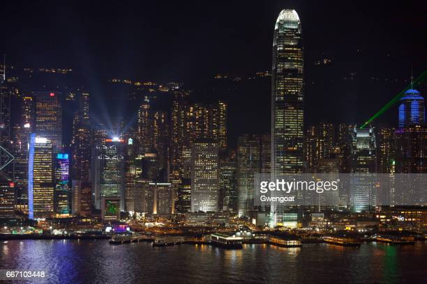 a symphony of lights in hong kong island - gwengoat stock pictures, royalty-free photos & images