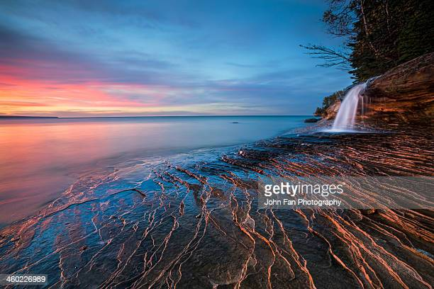 symphony of sunset - munising michigan stock pictures, royalty-free photos & images
