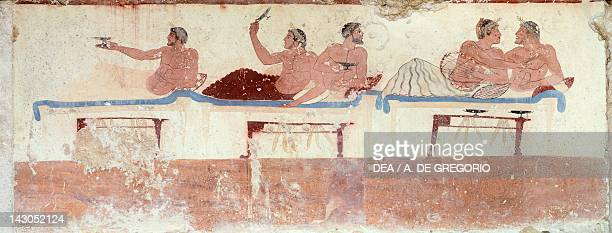 Symposium scene ca 480490 BC decorative fresco of the north wall of the Tomb of the Diver at Paestum Campania Italy Ancient Greek civilization Magna...