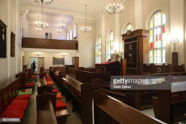 A synagogue still in use by the local Jewish community stands in the surviving adjunct building of the former Fraenkelufer synagogue on March 15 2018...