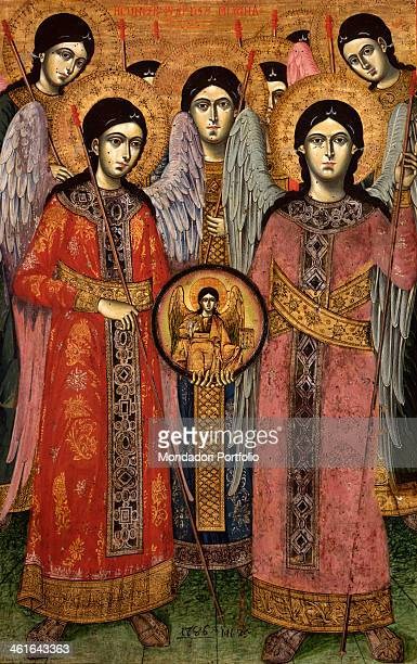 Synaxis of the Archangels by Unknown Artist from Myzeqeja Central Albania 18th Century tempera on wood Albania Tirana Institute for Cultural...