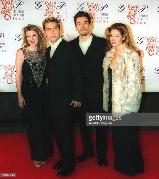 N''Sync band member JC and his girlfriend along with fellow band member Lance and his girlfriend attend the GP Foundation for Cancer Research event...