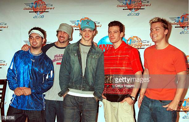 N'sYNC band members from left Chris Fitzpatrick Joey Fatone Justin Timberlake JC Chasez and Lance Bass talk to the media during a press conference...