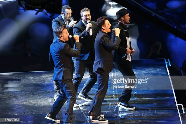 'N Sync onstage during the 2013 MTV Video Music Awards at the Barclays Center on August 25 2013 in the Brooklyn borough of New York City