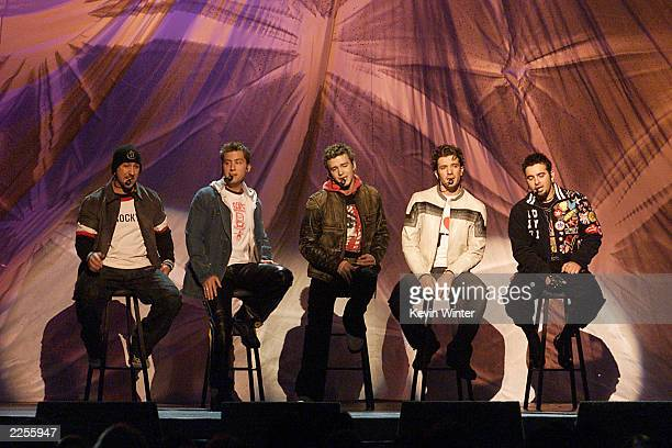 N'Sync performing on stage at the 44th Annual Grammy Awards held at the Staples Center in Los Angeles CA on Wednesday night Feb 27 2002