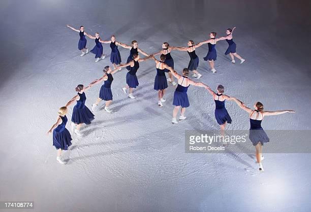 Synchro skating team performing routine.