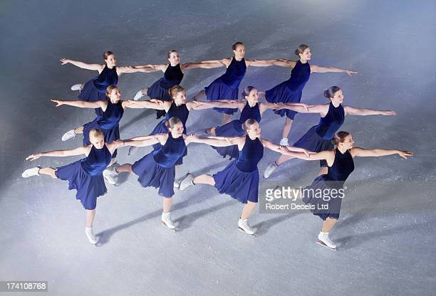 Synchro Skating team performing warm-up routuine.