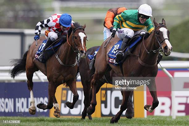 Synchronised ridden by Tony McCoy on his way to winning the Cheltenham Gold Cup Steeplechase race from The Giant Bolster ridden by Tom Scudamore and...