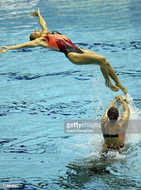 Synchronised swimmers of France perform during the Free Combination Final at the FINA Synchronised Swimming World Cup 2006 on September 14 2006 in...