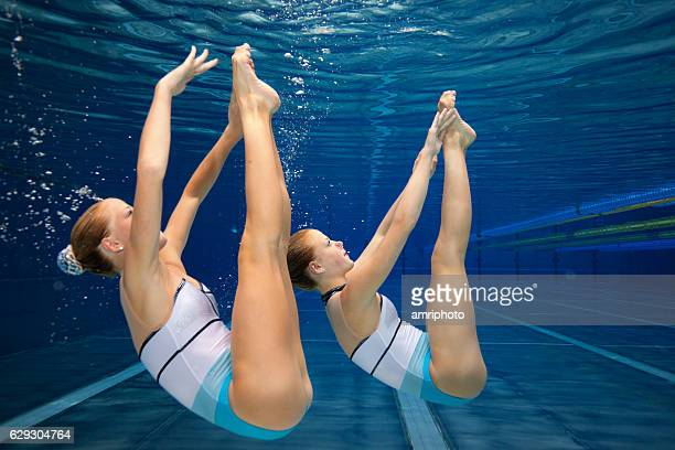 synchronised swimming underwater exercise
