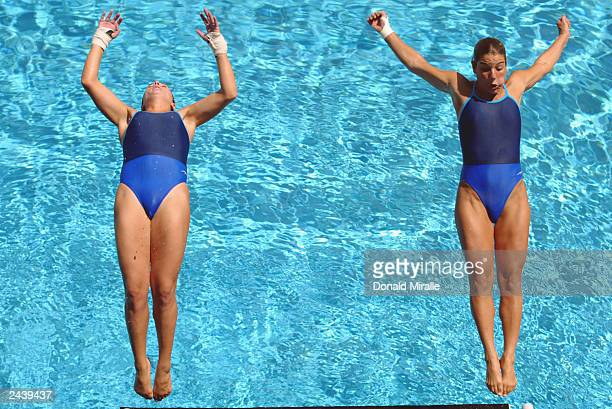 Synchronized Divers Milena Canto Sae and Juliana Veloso of Brazil practice for the Women's Synchronized Diving Final at the JPD Aquatics Center on...