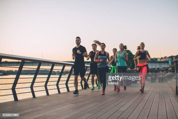 synchronized group - jogging stock pictures, royalty-free photos & images