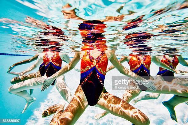 Synchronized swim team treading water together