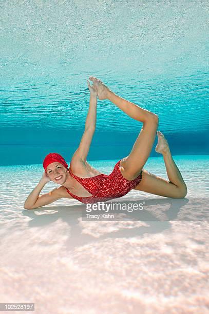 Synchronized swimmer underwater