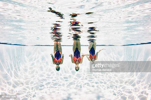 Synchronized swimmers treading water upside down