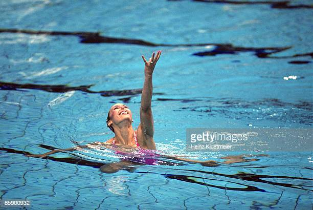 1988 Summer Olympics USA Tracie RuizConforto in action during Solo routine Finals at Chamshil Indoor Swimming Pool RuizConforto won silver Seoul...