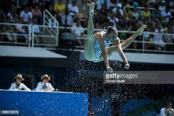 2016 Summer Olympics Member of team Ukraine in action during the Women's Team Free Routine Final at Maria Lenk Aquatics Centre Rio de Janeiro Brazil...