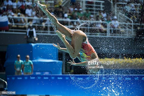 2016 Summer Olympics Team Australia in action during the Women's Team Free Routine Final at Maria Lenk Aquatics Centre Rio de Janeiro Brazil...