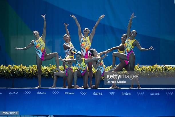 2016 Summer Olympics Team Japan in action during the Women's Team Free Routine Final at Maria Lenk Aquatics Centre Japan wins Bronze Rio de Janeiro...