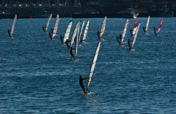 Synchronized windsurfing in Japan