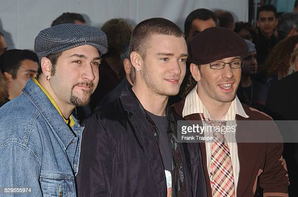 N'Sync's Joey Fatone Justin Timberlake and JC Chasez arrive at the 30th Annual American Music Awards