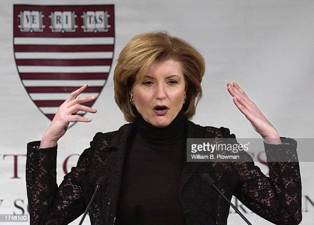 Syndicated columnist and author Arianna Huffington addresses an audience at Harvard University's Kennedy School of Government January 27, 2003 in...