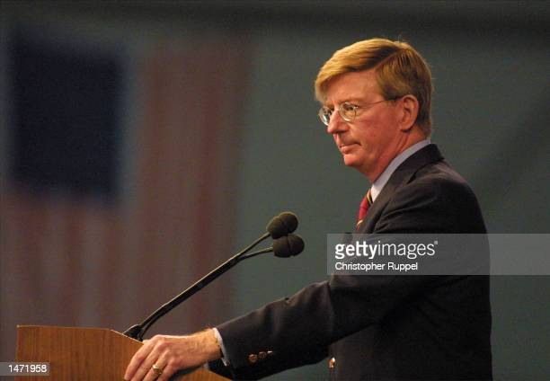 Syndicated Columnist George Will speaks during the 18th Annual Borton, Petrini & Conron, LLP's Bakersfield Business Conference on October 12, 2002 in...